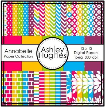 12x12 Digital Paper Set: Annabelle Collection {A Hughes Design}