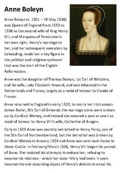 Anne Boleyn Handout