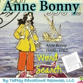 Anne Bonny Life Events Word Search and Key Vocabulary Activity No Prep