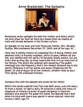 Anne Bradstreet Epitaphs