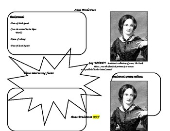 Anne Bradstreet Graphic Organizer for Notes