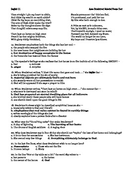 Anne Bradstreet Poetry Multiple Choice Test with Key by ...