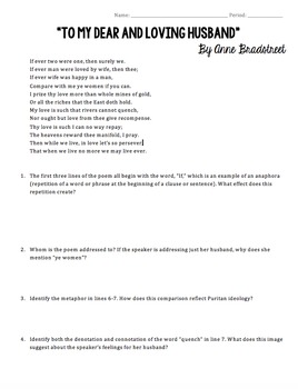 Anne Bradstreet Puritan Poetry Worksheets and Activities by The ...