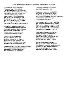 Anne Bradstreet: Upon the Burning Hardcopy