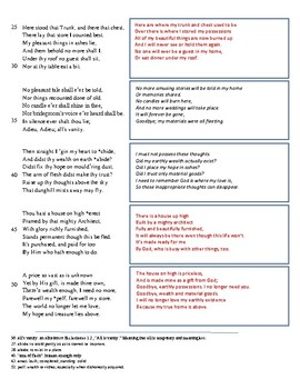 """Anne Bradstreet-- """"Upon the Burning of Our House"""" Paraphrase Activity"""