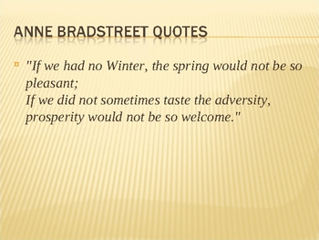 Anne Bradstreet and American Literature Powerpoint