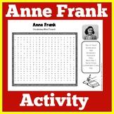 Anne Frank | Worksheet Activity | World War II | Word Search