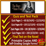 Anne Frank: Tests, Quizzes Assessments Print + SELF-GRADING GOOGLE FORMS Novel