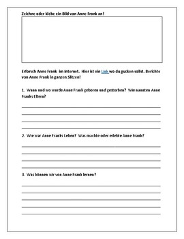 (GERMAN LANGUAGE) Anne Frank:Berühme Persönlichkeiten—Famous Person Worksheet