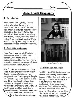 Anne Frank Biographical Article and Activities for ESL ...
