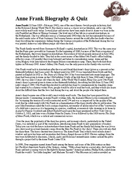 Anne Frank Biography & Quiz