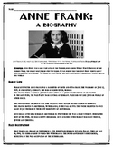 Anne Frank Biography with Multiple Choice Questions