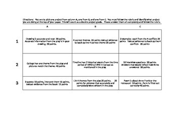 Anne Frank Choice Board Project