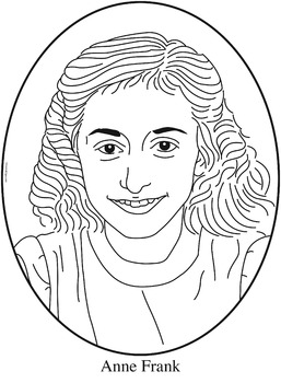 Anne Frank Clip Art, Coloring Page or Mini Poster
