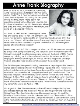 Anne Frank Close Reading Text Dependent Questions Activity