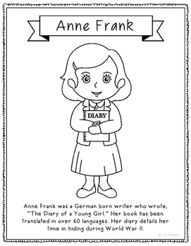 Anne Frank Coloring Page Activity or Poster with Mini Biog