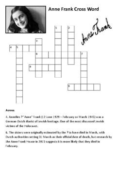 Anne Frank Crossword