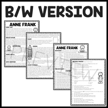 Anne Frank: Diary of a Young Girl Background Reading Comprehension Worksheet
