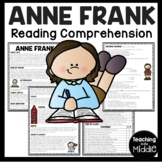 Anne Frank Biography Reading Comprehension Worksheet; Holocaust; Diary