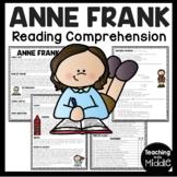 Anne Frank Biography Reading Comprehension Worksheet