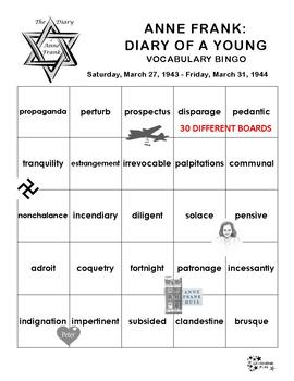 Anne Frank: Diary of a Young Girl Vocabulary Bingo
