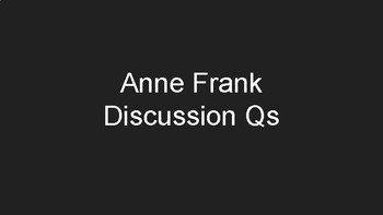 Anne Frank Discussion Slides