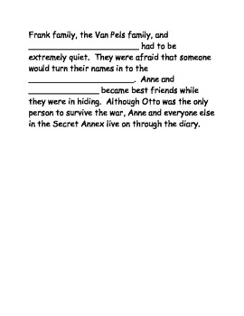 Anne Frank Fill-In-the-Blank Activity