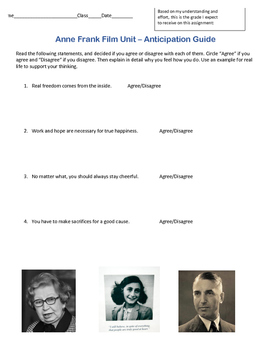 Anne Frank Film Anticipation Guide
