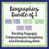 Anne Frank, Helen Keller, Harriet Tubman Biography Informational Text Activities