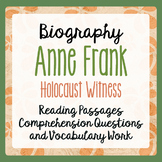 Anne Frank Biography Informational Texts Activities Grade 4, 5, 6
