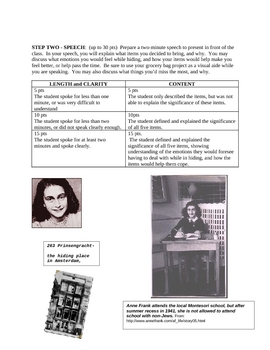 Anne Frank Holocaust Project for Middle School Students