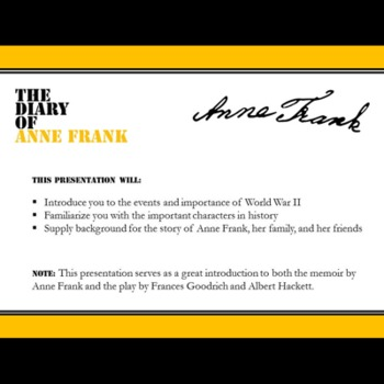Anne Frank Intro Notes PowerPoint