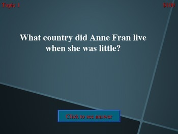Anne Frank Jeopardy Game