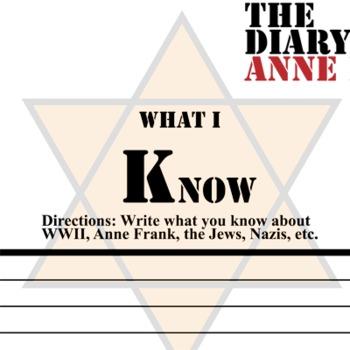 Anne Frank KWL Organizer Chart for Notetaking