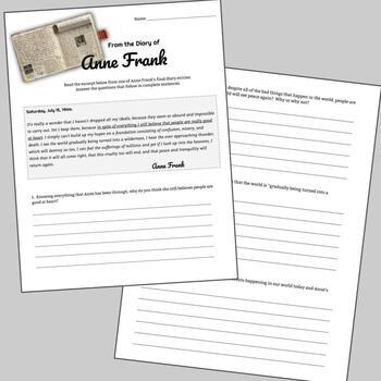 Anne Frank Last Diary Entry Worksheet