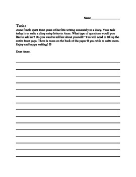 Anne Frank Letter Writing Activity
