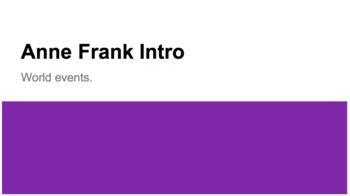 Anne Frank Mini Unit