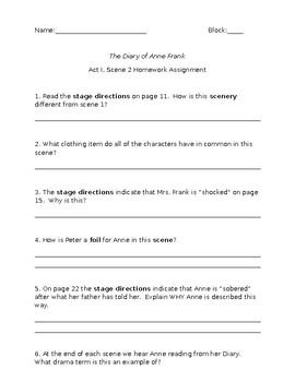 Anne Frank Play Comprehension Worksheets