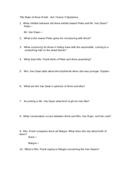Anne Frank Play Questions-Act 1 Scene 3