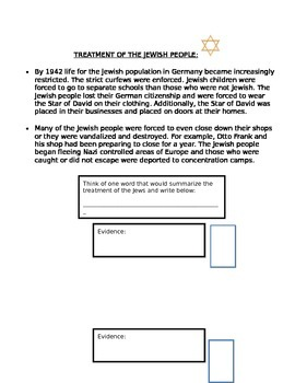 Anne Frank Play Whole Reading Packet- With Essay Topic