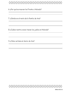 Anne Frank-Questions in Spanish