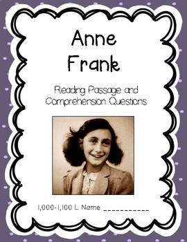 Anne Frank - Reading Comprehension Biography and Questions