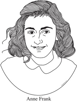 Delightful Anne Frank Realistic Clip Art, Coloring Page And Poster