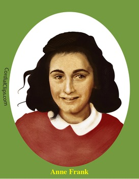 Anne Frank Realistic Clip Art, Coloring Page and Poster