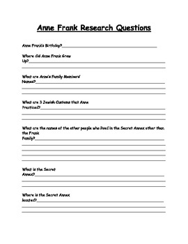 Anne Frank Research Questions Activity