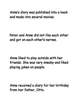 Anne Frank Sequencing Activity