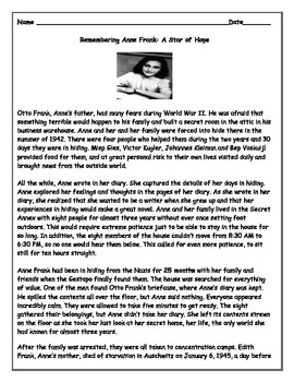 Anne Frank Short Reading Article and Evidence Based Responses