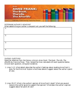 Anne Frank: The Book, the Life, the Afterlife Comprehensive Study Guide