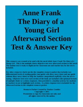 Anne Frank The Diary of a Young Girl Afterword Section Test and Key