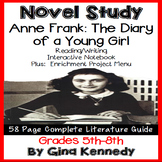 Anne Frank, The Diary of a Young Girl Novel Study and Project Menu
